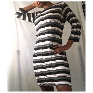 Sharagano | Black and white striped ruffle dress
